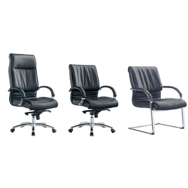 Black and chrome executive visitors chair