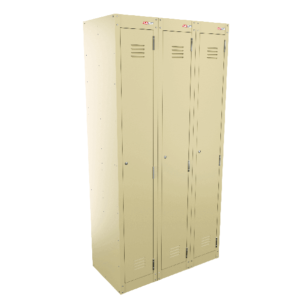 Single Door Bank of 3 - Beige