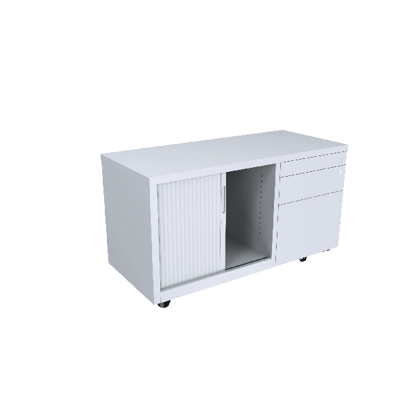 RHS Draws + Tambour Door - Lockable White