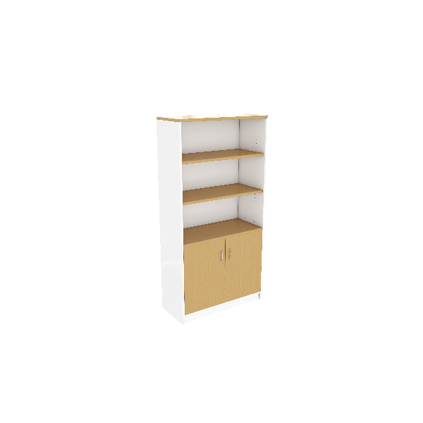 White and Beech Hinged door Unit
