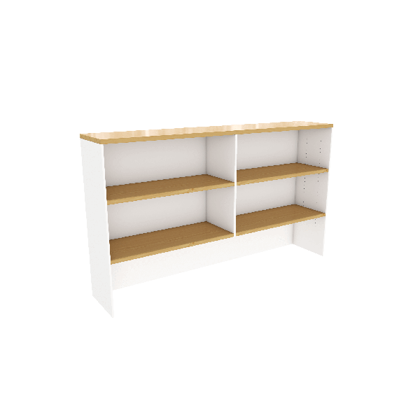 White Maple Hutch can go on desk workstation or credenza