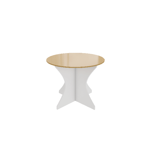 Maple and White Curved base Table