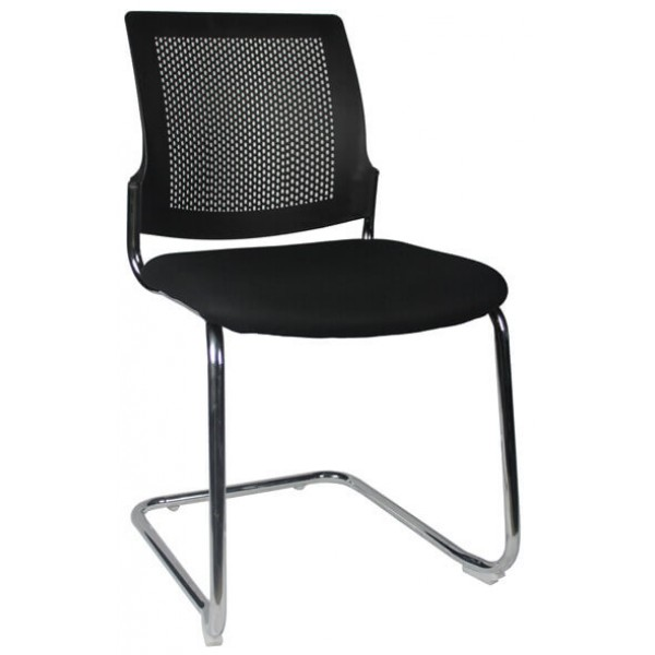 Chrome Cantilever chair Black seat and Back Logic Interiors