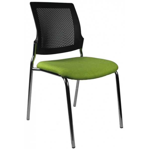 Silo 4 Leg chair Green Seat black back