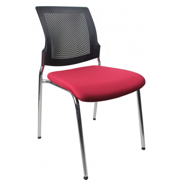 modern stacking chair red seat