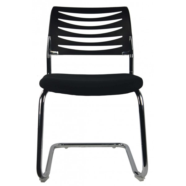 Cantilever Visitor chair chrome Frame Black Seat