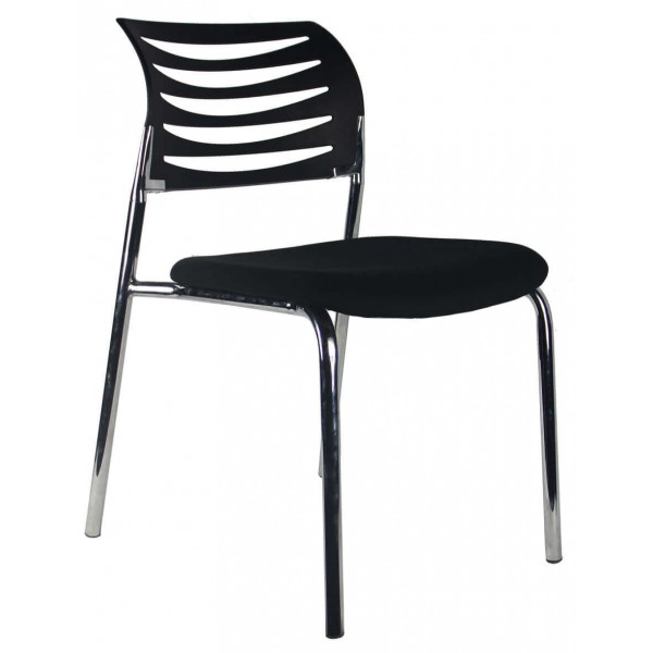 Stackable 4 leg chrome black back black seat