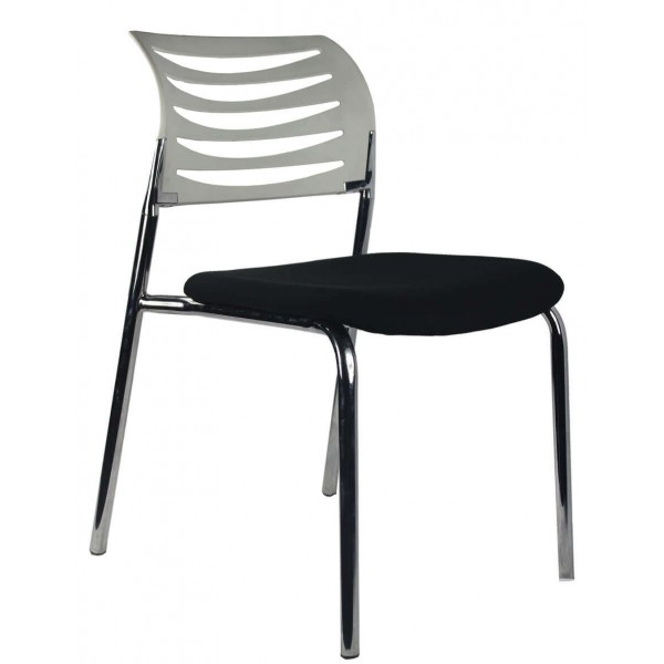 Chrome frame 4 leg visitor chair White Back Black Seat