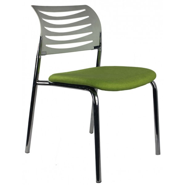 Chair 4 Leg Chrome White Back Green Seat